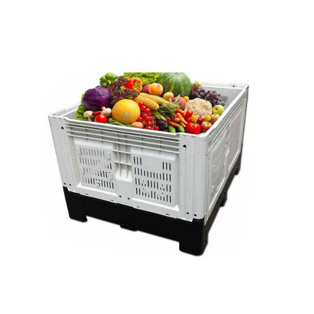 Heavy duty large vented food grade pallet crates plastic folding fruit bins for sale