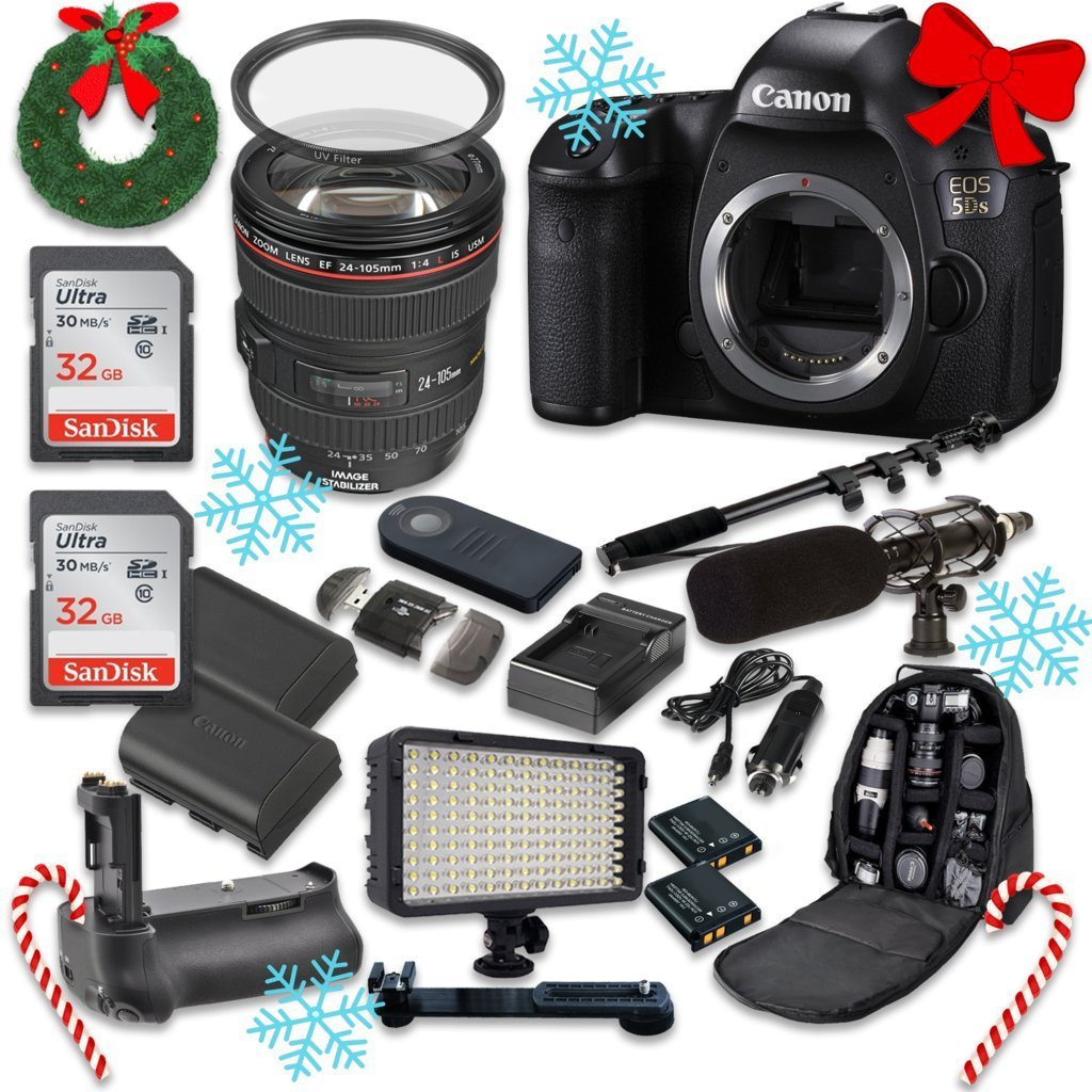 Canon EOS 5DS 50.6MP Full Frame CMOS Digital SLR DSLR Camera with EF 24-105mm f/4 L IS USM Lens + 2pc SanDisk 32GB Memory Cards + Battery Power Grip + Special Promotional Holiday Accessory Bundle