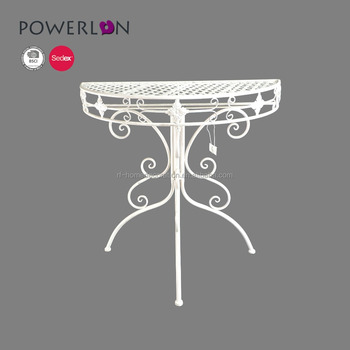 low priced 725d7 7701f Antique White Metal Wall Corner Half Round Console Table - Buy Antique Half  Moon Table,Half Round Dining Table,Antique Half Round Console Table ...