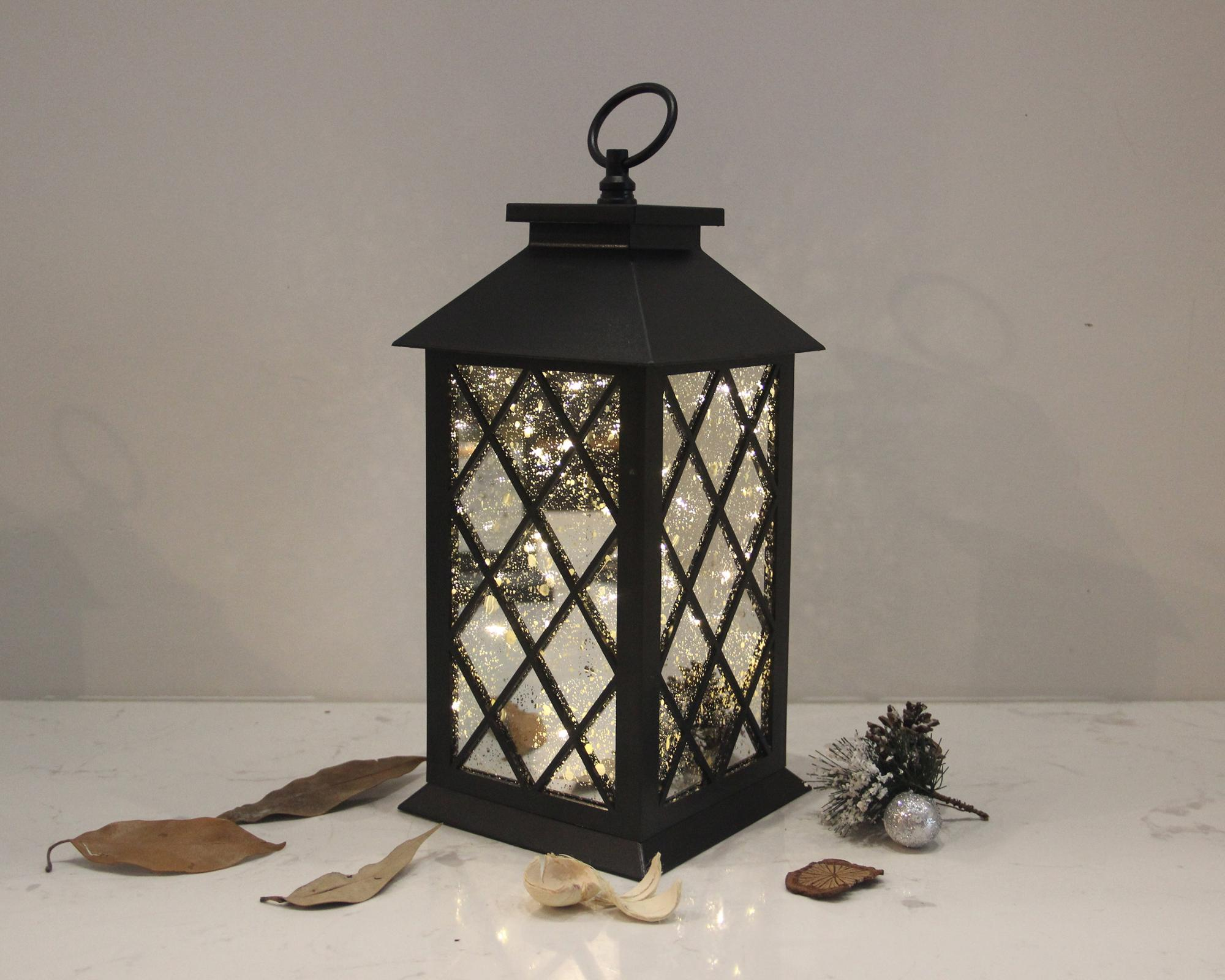 Battery Operated Plastic Lantern With Led Copper Wire String Lights Mirror Plating Gl