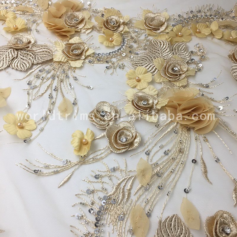 2018 new design champagne gold rhinestone pearl beaded wedding lace fabric 3d flower french lace embroidered fabric wholesale