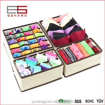 Bra Underwear 4 Set Organizer Storage Close Fabric Drawer Divider Organizers  Underwear Box Bra Box