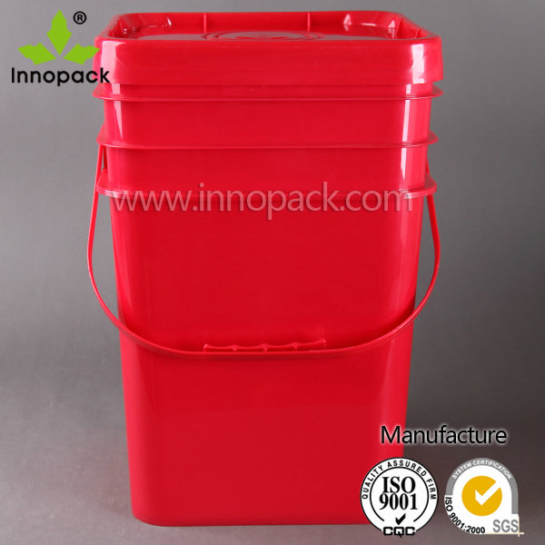 5 gal bucket paint plastic square pail with lid and handle