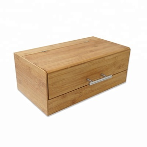 Rectangle Bread Box Bamboo Large Storage Easy to Open Lid with Handle