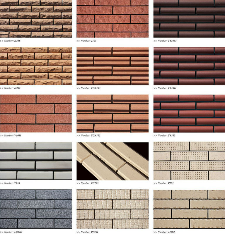 02170952 Hot Sale Facade Exterior Wall Clinker Brick Slips Tiles ...
