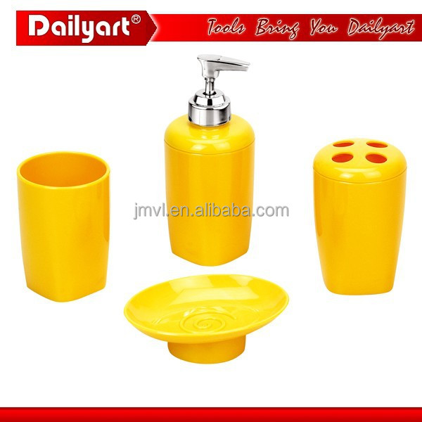 2015 volledige set van hoge kwaliteit gele badkamer accessoires, Badkamer