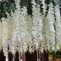 2018 festival decor factory cheap hanging artificial silk wisteria vine