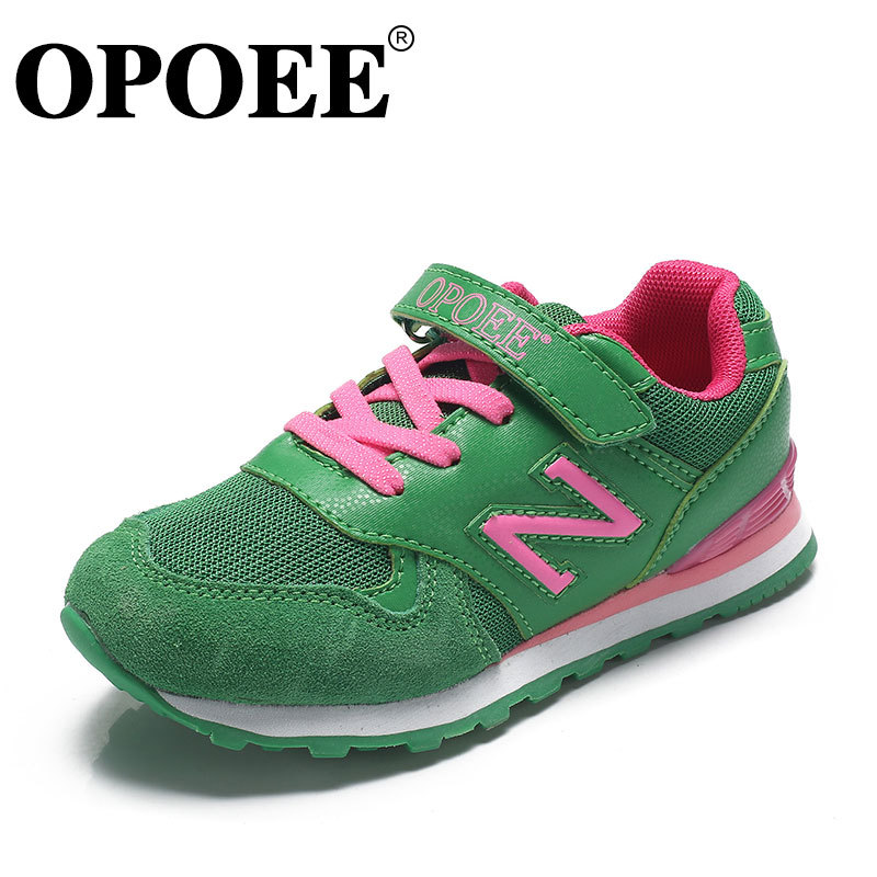 2015 Opoee New Children Shoes Sneakers Boys Girls Kids Breathable Sports Shoes Fashion N Letter Tide Autumn Spring Size 27 - 37