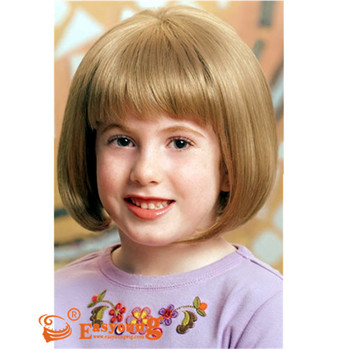 Short Blonde Bob Hair Wigs For Kids Synthetic Children Size Hair