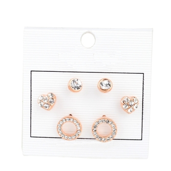 Rose Gold Earing Sets Three Stud Earrings Set Heart Shape Earring