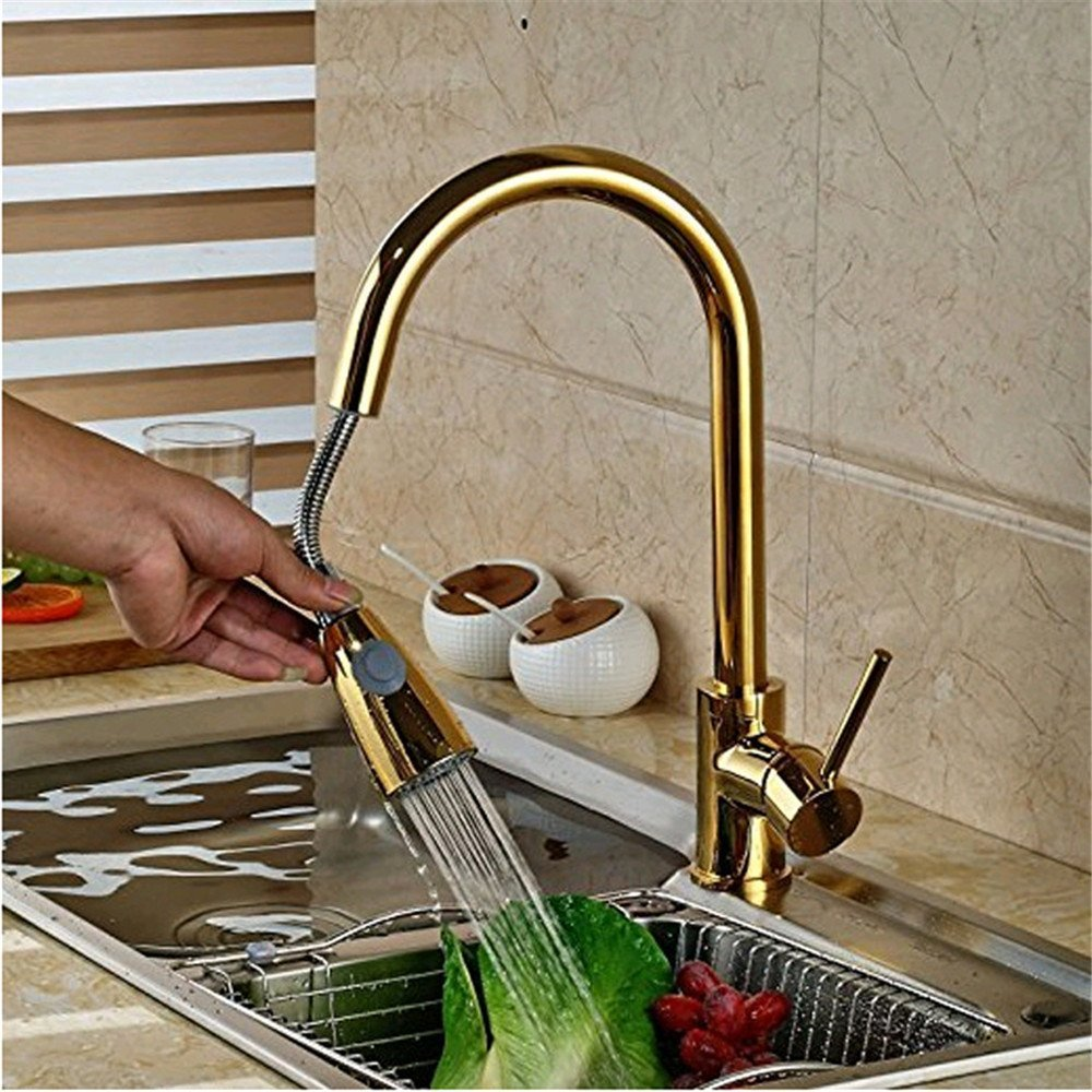 FHLYCF Kitchen faucet, retro gold, all copper dish basin faucet, cold hot water drawn sink, faucet