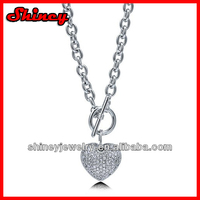 925 sterling silver cross chain toggle clasp micro paved heart charm necklace