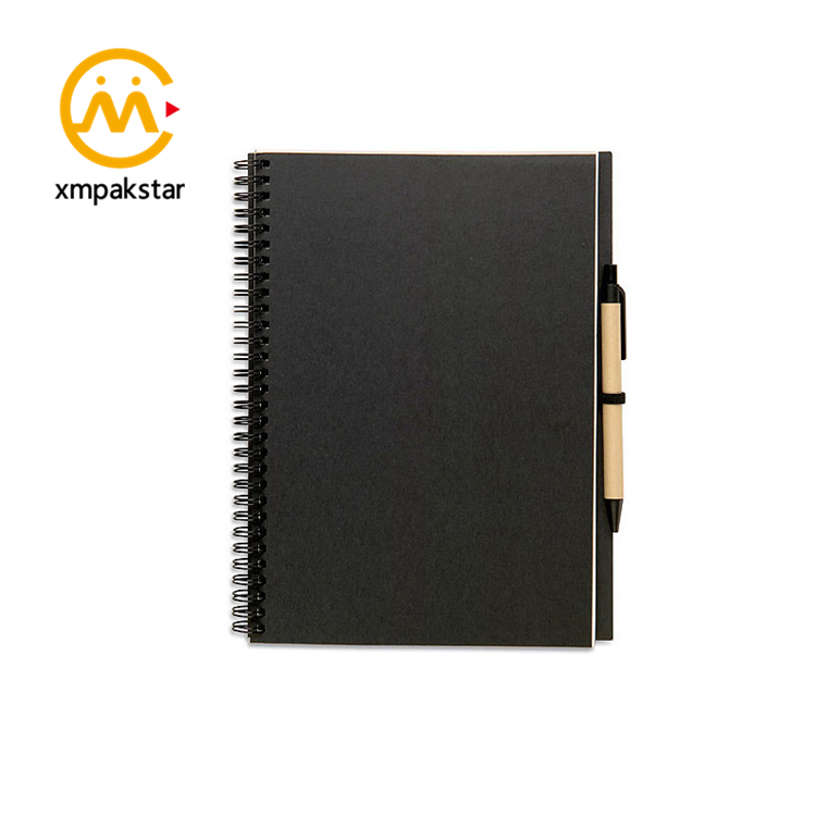 Factory supply custom paper cover spiral bound journal black Kraft notebook for school