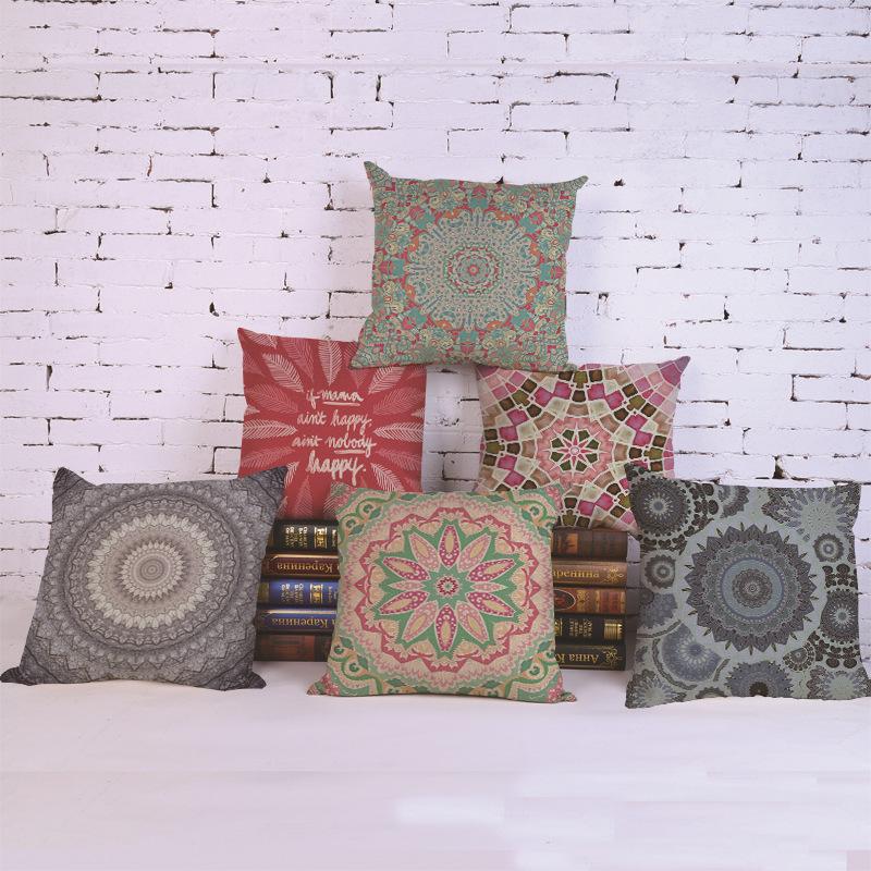 Retro Bohemian Geometric Decorative Pillow Case Chair Seat Square 45x45cm Ethnic Style Pillow Cover Home Garden