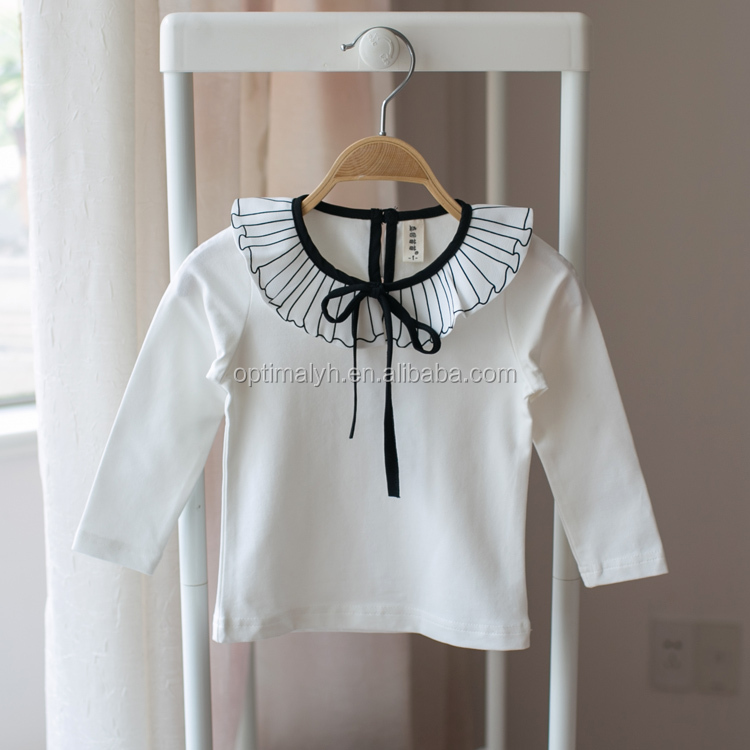 South Korean of children's wear girl's bow-tie long sleeve T-shirt kids ruffle sweater