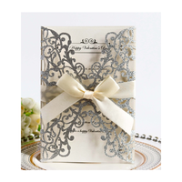 Custom High Quality Folding Brush Laser Cut Flower Greeting Wedding Card