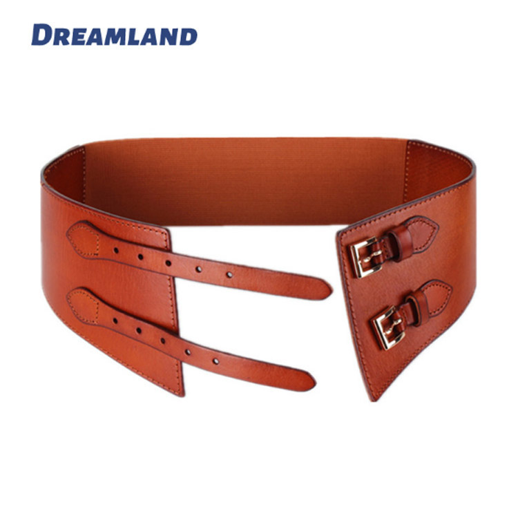 Double Mini Buckle Stitched Elastic Webbing Dress Belts