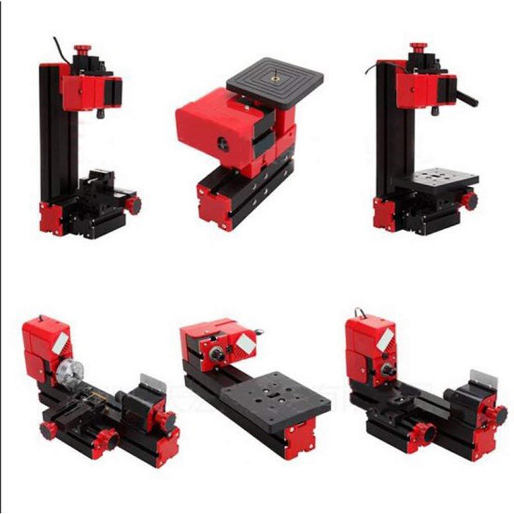 Denshine 6 in 1 Jigsaw Grinder Driller Plastic Wood Lathe Drilling Sanding Turning Sawing Machine Tool Kit Multi-functional Motorized Transformer Multipurpose Machine
