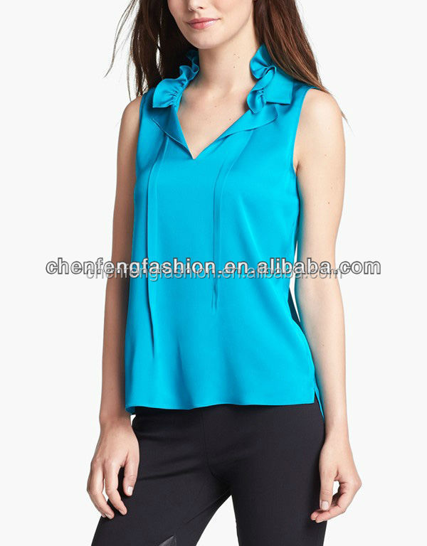 CHEFON Women Sleeveless Frill Collar Stretch Silk Blouse CNA0064