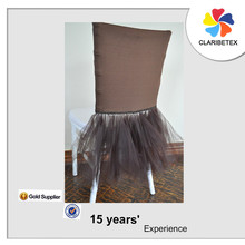 New arrived romantic chocolate spandex chair cover and net chair dress
