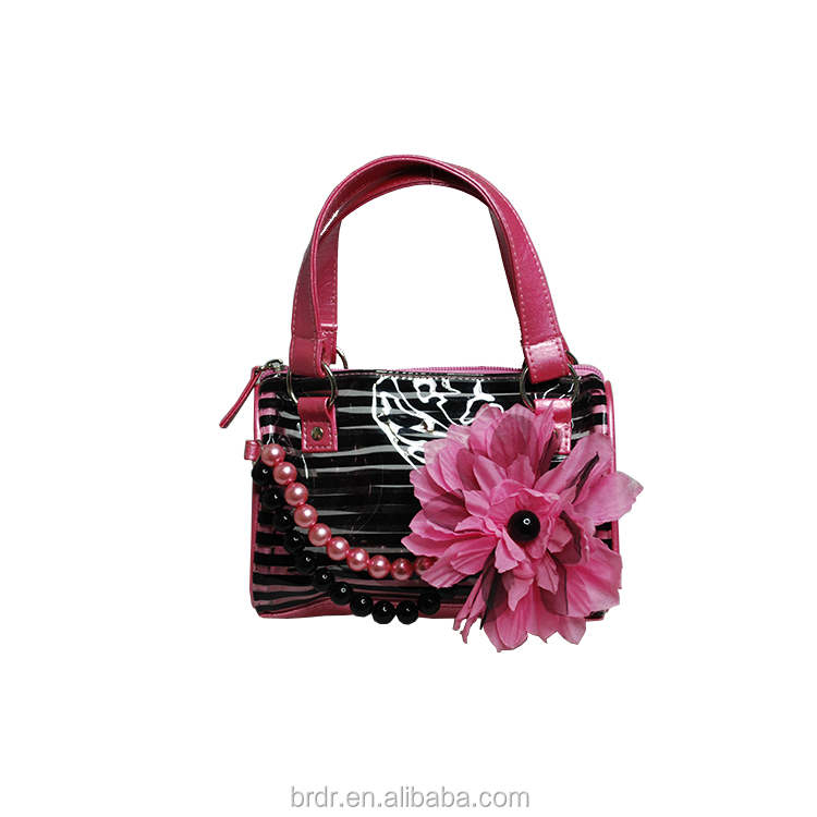 2015 New Model Fashion Pink Flower Decoration PVC Beautiful Girls Handbag