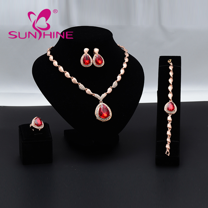 Fashion Top Jewelry Set Rose Gold Plated Austrian Crystal Earring/Necklace/Ring /Bracelet Wholesale For Women