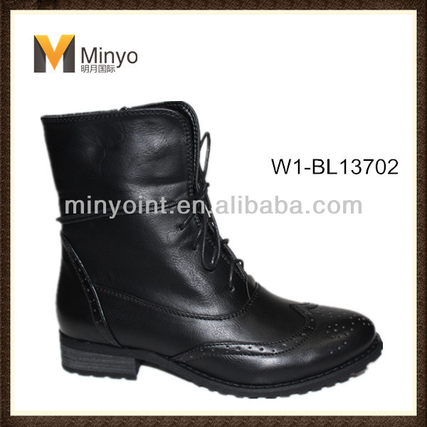 Minyo 2016 New Woman combat boot,fashion biker boot, ladies lace up high quality boots