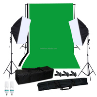 Forfeel Photographic equipment for Soft box Lighting Kit with Studio Background Stand 100% cotton Backdrops Light Bulbs