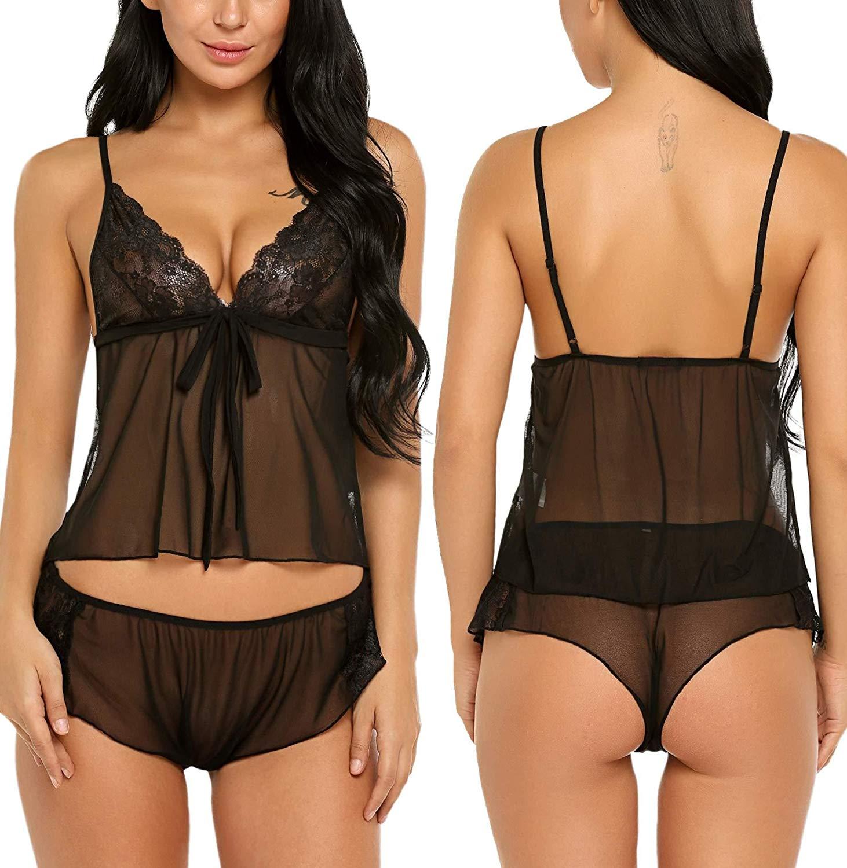 a23b64ce2ea Zouvo Women Lace Lingerie Cami Shorts Set Babydoll Chemise Mesh Pajama S-XXL