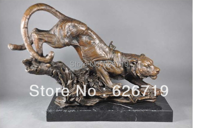 Best Selling 100% Bronze Animal Statue Tiger Down The