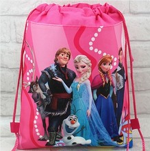 2016 minion elsa gmy school bag non-woven string shoe backpack shopping bag for boys and girls kids birthday gifts all match