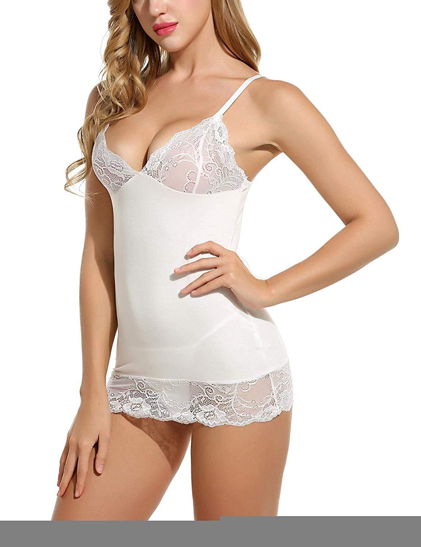 6a8a0245bb3 Buy AGNEL Bodycon Lace Chemises Mini Babydoll Satin Slip Dress in ...