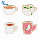 Custom Coffee Tea Cup Enamel Pins Metal Colorful Cute Cup Collar Pins and Brooches