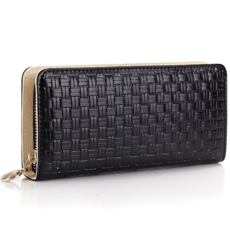 2015 New Designer Women Genuine Leather Wallets Ladies Wave Pattern Fashion Luxury Zipper Around Wallet Clutch Bag BL-A6