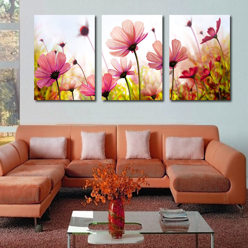 modern abstract palette knife poppies flower oil painting wall art canvas living room pictures. Black Bedroom Furniture Sets. Home Design Ideas