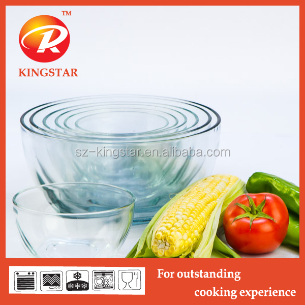 Different sizes high borosilicate clear glass salad bowl/ glass mixing bowl