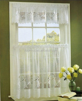Tier Kitchen Curtain Swag Valance, Flower Lace Curtain 3PCS Kitchen Curtain  Tiers And Valance