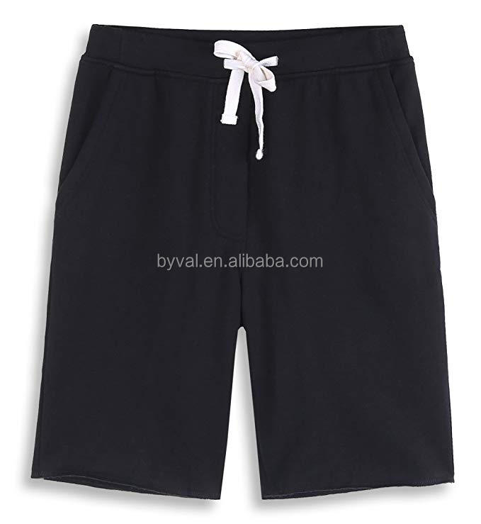 custom men's casual soft cotton elastic fleece jogger gym active pocket shorts