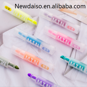 2018 Japan and Korea popular milk serie transparent barrel and cap colorful set packing promotional mini highlighter marker pen