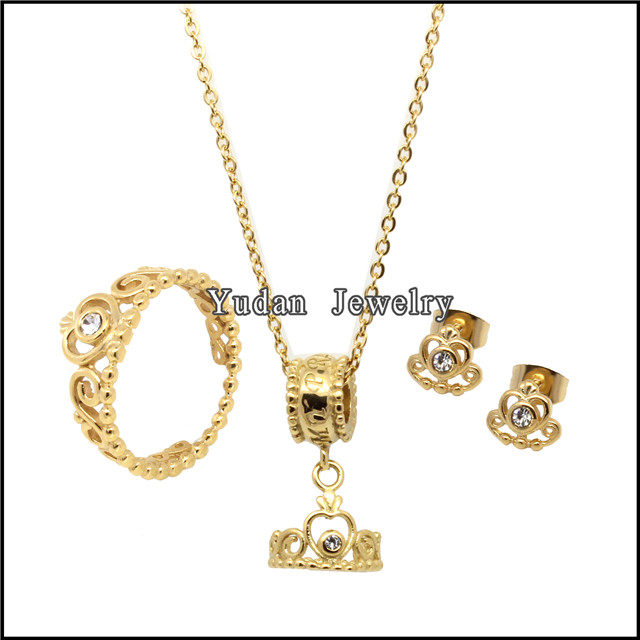 Hot Sale Crown Shape plated gold jewelry sets women