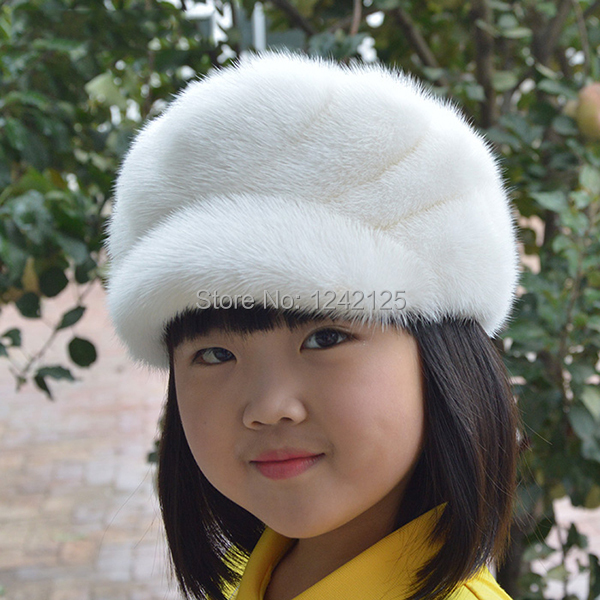 New Autumn winter parent-child mink fur hat windproof warm cute ... 0c18975b06ed