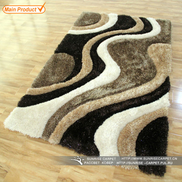 Modern design multicolor 3D polyester silk shaggy carpet rugs