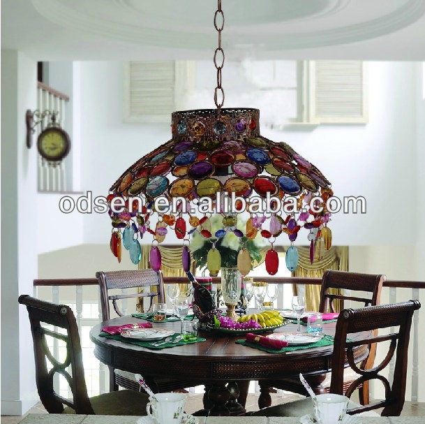 Handmade Multi Color Crystal Chandelier Thai Ceiling Lamp Lighting – Color Chandelier