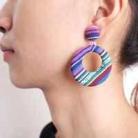 Bohemian Handmade Cloth Drop Earrings Women Unique Design Fashion Indian Jewelry National Style Button Shape Dangle Earrings