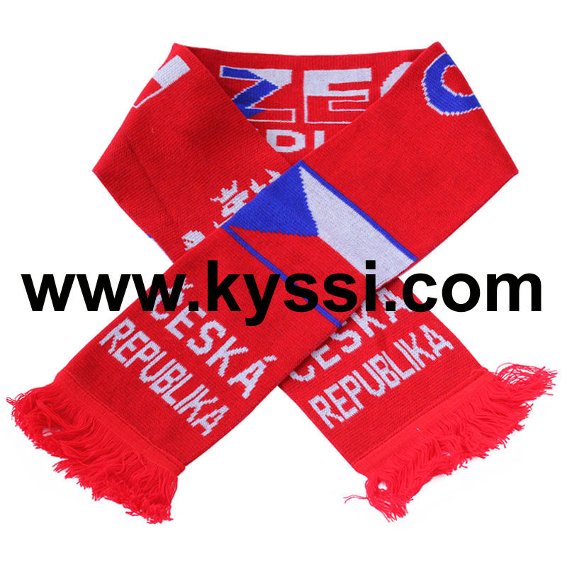 Czech Republic Knitted Jacquard Football Scarf