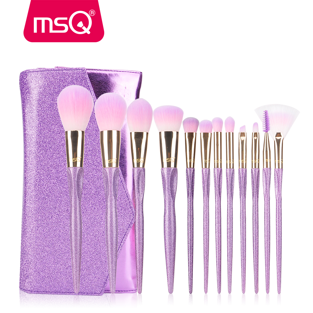 MSQ 12pcs Makeup Cosmetics Professional Makeup Brushes Set Synthetic Hair bling Makeup Brushes brochas maquillaje фото