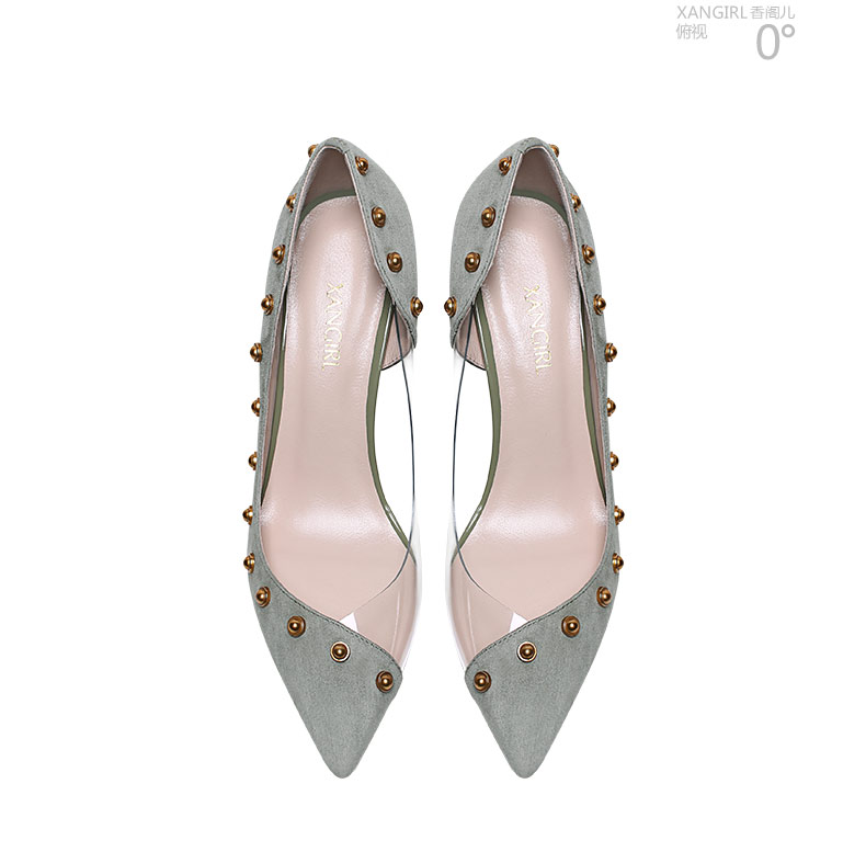 genuine shoes leather high heel rivet women design decorated PVC Simple qAftBxP