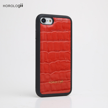 Genuine cow Leather phone case manufacturing for iphone 8 crocodile pattern custom logo