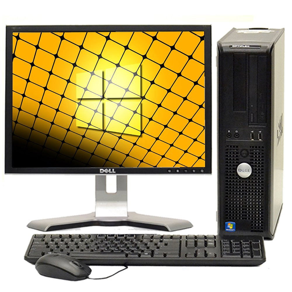 """Fast Dell Optiplex Windows 10 Desktop Computer Core 2 Duo 4GB Ram DVD, 17"""" Dell LCD, New Mouse, Keyboard and Wifi Adapter- Desktop Computer Bundle- 5 Items"""