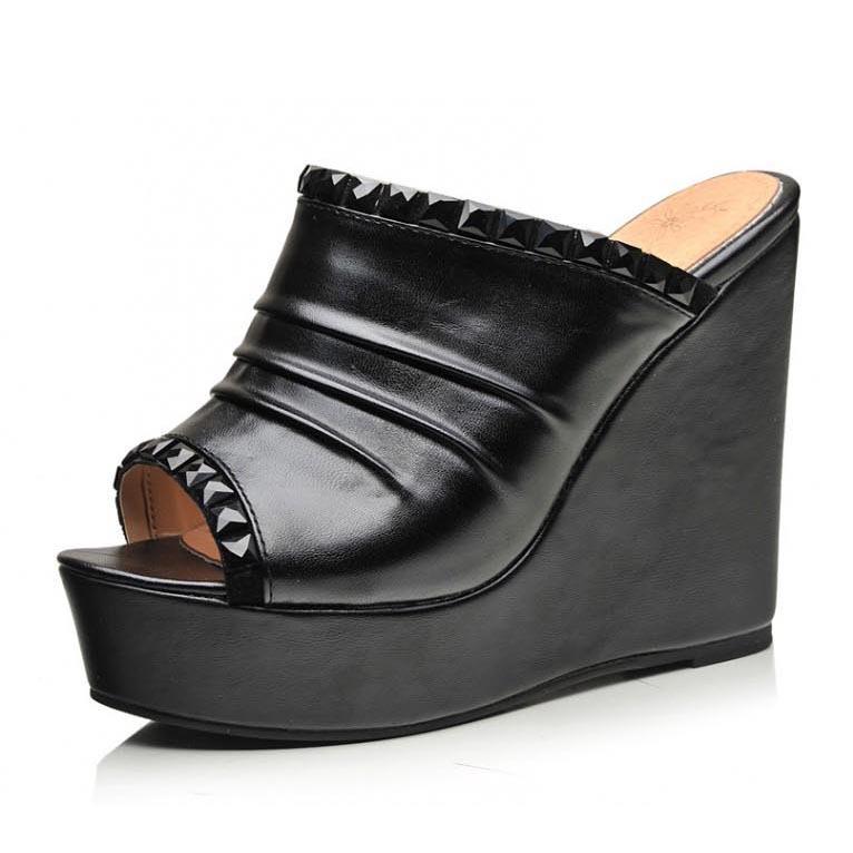 6773dbcada7 Get Quotations · New 2015 Open Toe Platform Wedge Slippers For Women  Fashion Rhinestone Pu Leather High Heel Women